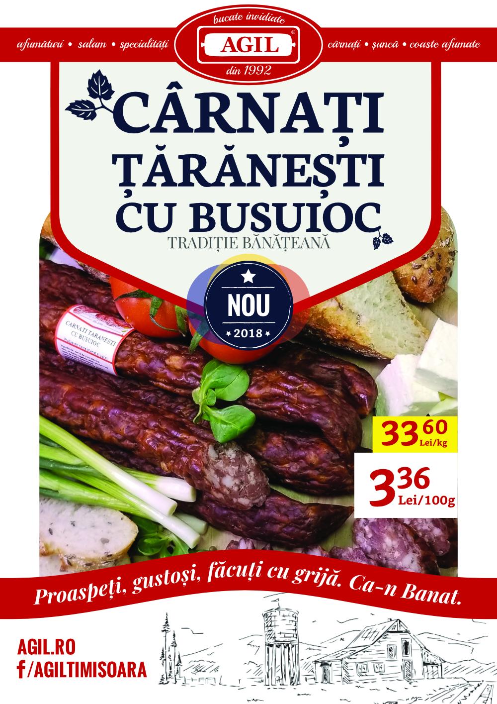 "Afis Agil ""Carnati taranesti cu busuioc"""